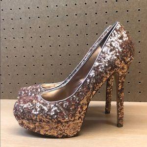 Bakers Bronze Sparkly Platform Heels sz 10